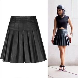 All Saints Pleated Leather Skirt, Size 2
